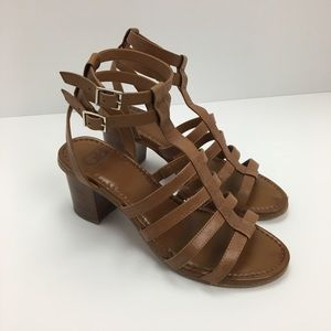 Leather Gianni Bini Strappy Stacked Heel Brown